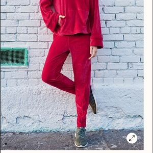 Free People Cherry Red Velour Plush Joggers Small